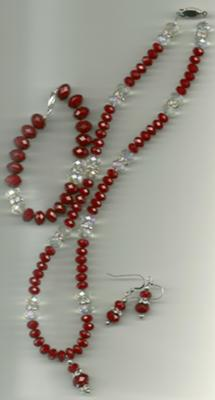 Bridesmaid - red glass and crystal