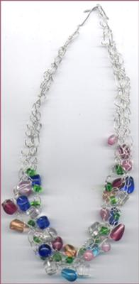 A beautiful and intricate crocheted necklace, by Laurie.