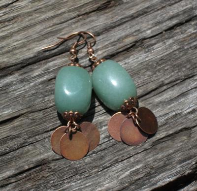 Aventurine Copper Earrings